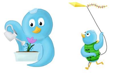 spring twitter social media icons flower kite