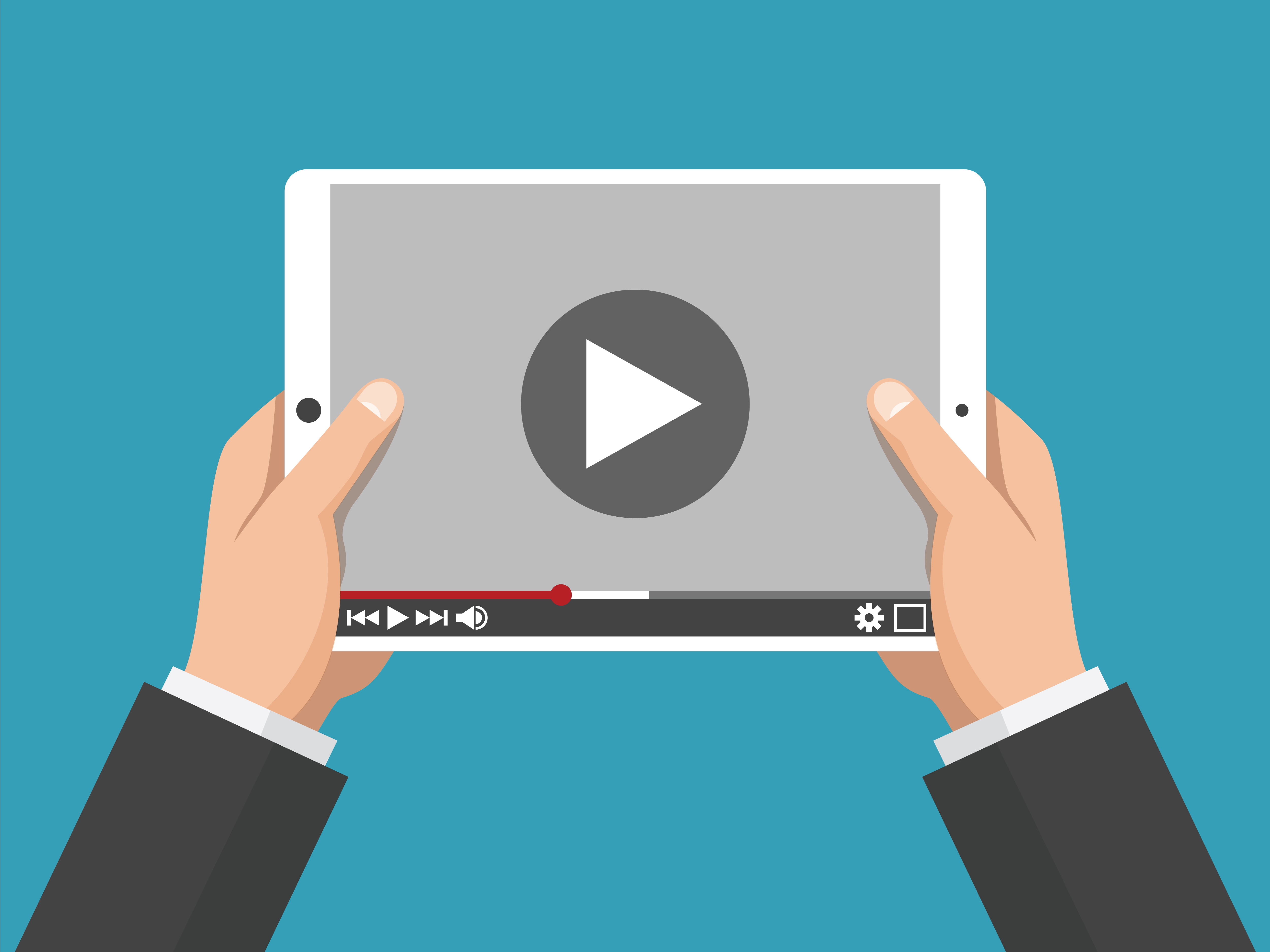 Hands holding holding white tablet computer with video player on screen